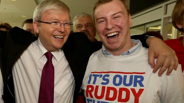 Kevin Rudd mobbed by fans while campaigning in Geelong last week. his huge popularity advantage over Gillard hase some nervous Labor MPs considering their options.