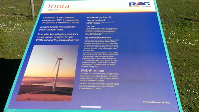 Information sign, Toora wind farm